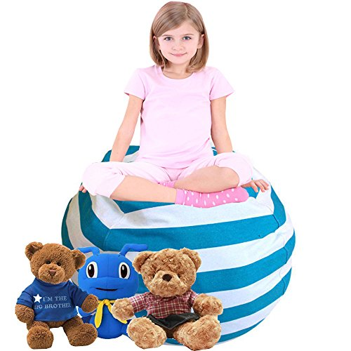 LEADERPAL Portable Child's Stuffed Animal Storage Bean Bag Chair Blue Small by LEADERPAL