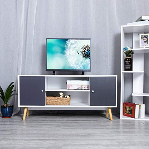 9 Plus Wood TV Stand, Console Cabinet Table with 2 Tiers Storage Shelf and Cabinet for Home Living Room Furniture White Grey