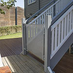 """Perma Outdoor Retractable Gate, Extra Wide 71"""", Gray"""