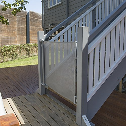 "Perma Child Safety Outdoor Retractable Baby Gate, Extra Wide up to 71"", Gray"