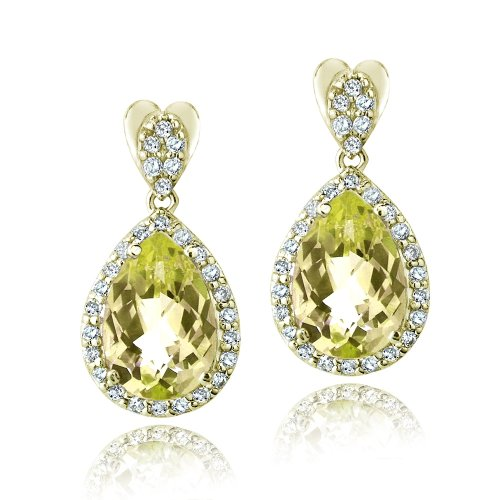 (Gold Tone 5.5ct Citrine & Cubic Zironia Teardrop Dangle Earrings )