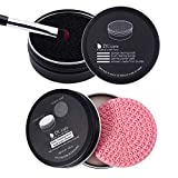 DUcare Makeup Brush Clean Set: Solid Soap Cleanser & Color Removal Sponge - Easy to Clean Brushes Shampoo Removes Shadow Color Cosmetic Colors Cruelty Free for Daily Use Travel Set (2Pcs,Coconut Oil)