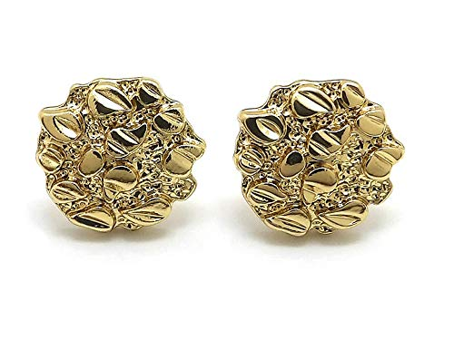Textured Nugget - Unisex Rough Textured Cookie Nugget Stud Pierced Earring in Gold Tone (Gold - 0.5