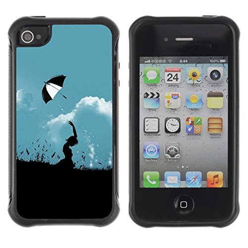 Apple Iphone 4 / 4S - Hill Umbrella Throw At Cloudy Sky Aesthetic Art