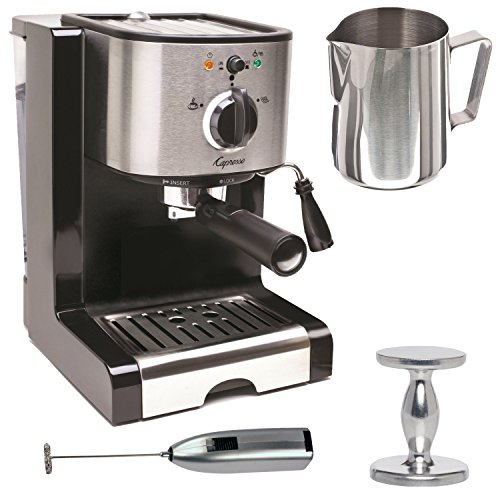 Capresso EC100 Pump Espresso and Cappuccino Machine Bundle with Milk Frother, Frothing Pitcher and Espresso Tamper