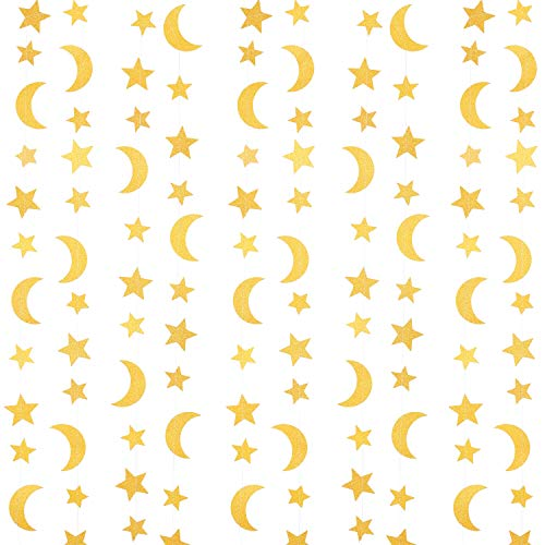 Moon Stars Decorations (4 Pieces Glitter Gold Stars Crescent Banner Garlands Star-Moon Paper Hanging Garlands Decorations for Wedding Engagement Baby Shower Birthday Party, 9.84 ft Long of Each)
