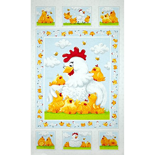 Susybee Pippa & Chicks 24 in. Pippa Quilt Panel White Fabric