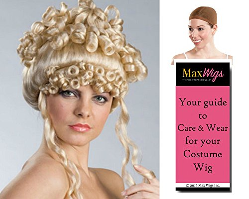 Bundle 3 items: Christine French Colonial Revolution Greek Goddess Enigma Wigs, Blonde, Wig Cap, MaxWigs Costume Wig Care Guide (Greek Goddess Wigs)