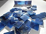 FortySevenGems 100 Pieces Stained Glass Mosaic Tiles 1/2-Inch Blue Black Glass Textured
