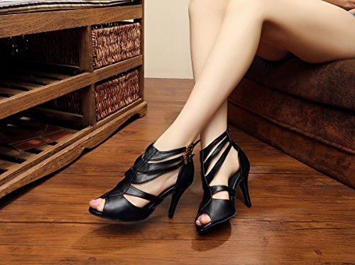 Miyaooprk Dames T-strap Gesp Suede Leder Tango Latin Dansschoenen Avond Prom Enkel Sandalen Leder-zwart-8,5 Cm Hak