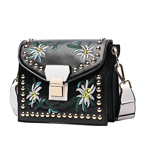 Handbag Single Style Ethnic Embroidery Bag Shoulder Oblique Fashion OVERMAL Mini Black EZqwUfY