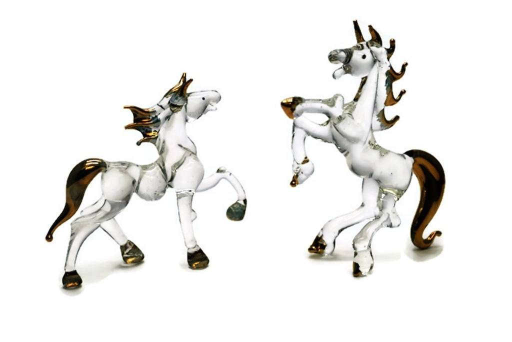3 D Crystal Toy Gloden Lucky Horse Hand Bowl Glass Dollhouse Miniatures Decoration