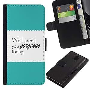 Paccase / Billetera de Cuero Caso del tirón Titular de la tarjeta Carcasa Funda para - Motivational Teal Text Poster - Samsung Galaxy Note 3 III N9000 N9002 N9005