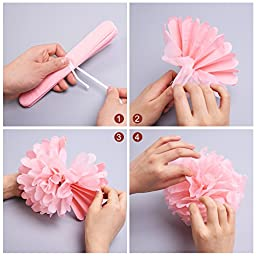 Mudder Happy Birthday Banner Tissue Paper Pom Poms Flower for Birthday Party Decorations