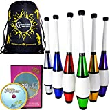 EURO PRO Juggling Clubs Set of 3 (12-Colour-Variations) + INSTANT Club DVD + Flames N Games Travel Bag! Metallic Deco Trainer Club Juggling Set Ideal For Beginners & Advanced Jugglers! (Red)