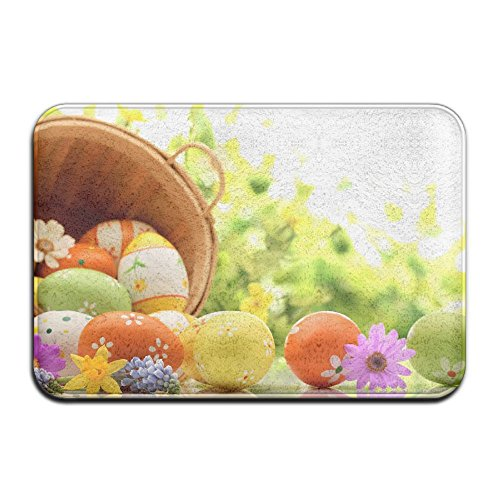 Happy Easter Colorful Clover Eggs Basket Flowers Theme Anti-