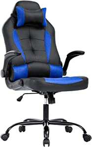 Gaming Chair Office Chair Desk Chair with Lumbar Support Flip Up Arms Headrest PU Leather Swivel Rolling Adjustable High Back Racing Computer Chair for Women Men Adults,Blue