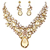 BriLove Women's Bohemian Boho Statement Necklace Dangle Earrings Jewelry Set with Crystal Teardrop Marquise Butterfly Filigree Golden Color Gold-Toned