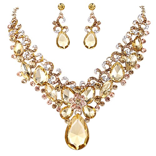 BriLove Costume Fashion Necklace Earrings Jewelry Set for Women Crystal Teardrop Marquise Butterfly Filigree Enamel Statement Necklace Dangle Earrings Set Champagne Gold-Toned