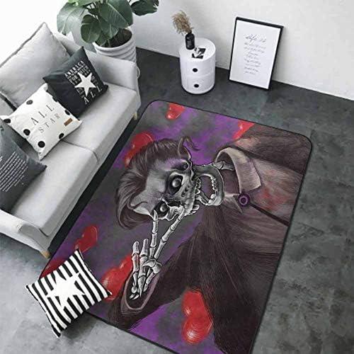 Indoor Super Absorbs Doormat Skull,Romantic Skeleton Handsome Corpse Groom with Tuxedo Hearts in The Backdrop Print,Black and Red 80 x 58 in Office Floor mats