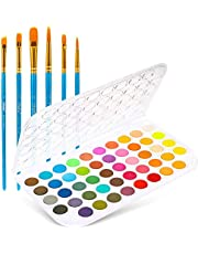 Fundamentals Watercolor Artist Set, Ohuhu 48-Color Watercolor Pallet Pan Set Vibrant Water-Color Cakes with a Variety of 6 Paintbrush for Watercolor Paints, Acrylic Paint Adults & Kids Gift
