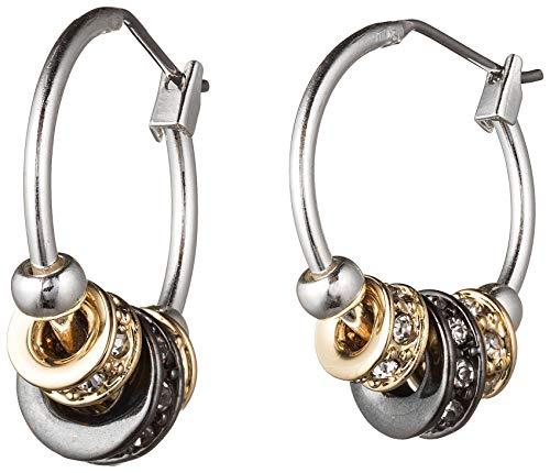 Nine West Tri-Tone Pave Slider Hoop Earrings One -