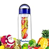 Blue 23 OZ Sporty Tritan Fruit Infuser Water Bottle,sports bottle,school bottle, Leak Proof,With Handle,for Fruit, Juice, Iced Tea, Lemonade & Sparkling Beverages-with 2 Gifts