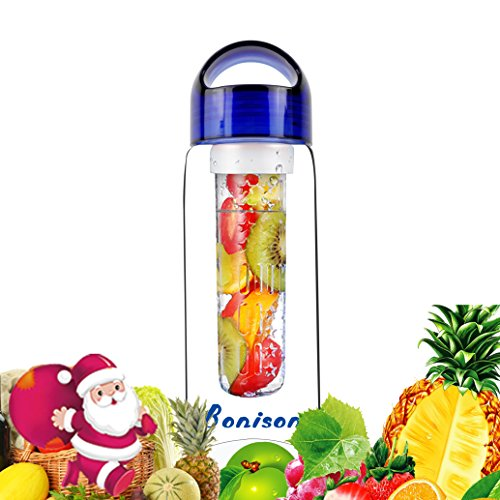 Bonison Sporty Tritan fruit infuser water bottle,Leak Proof ,Trendy Durable with Handle for fruit,Juice, Iced Tea, Lemonade & Sparkling Beverages (23 Oz) (700T-BLUE)