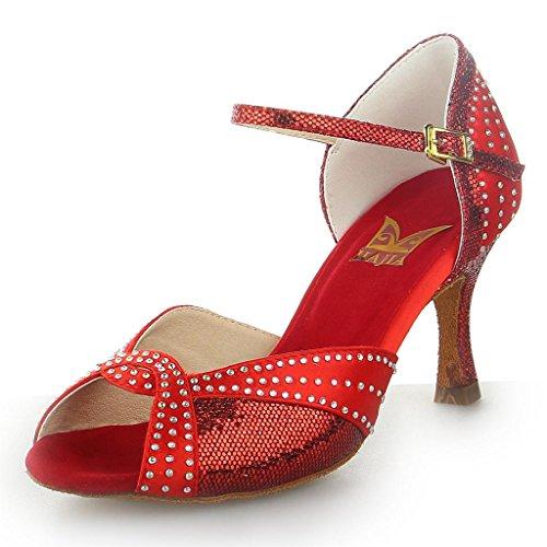 Strass mit Sandalen Latein Ausgestelltes Rot Heel Damen JIA Tanzschuhe Y20521Z Super JIA Satin wzfRUq