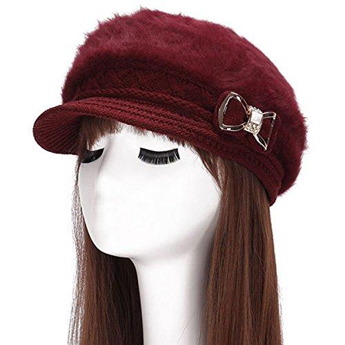 Surblue Lady Crystal Bow Warm Cabled Angora Knit Winter Beanie Crochet Beret Hats Newsboy Caps Photo #4