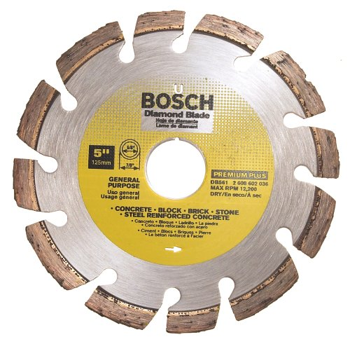 UPC 000346338416, Bosch DB561 Premium Plus 5-Inch Dry Cutting Laser Fusion Segmented Diamond Saw Blade with 7/8-Inch Arbor for Reinforced Concrete