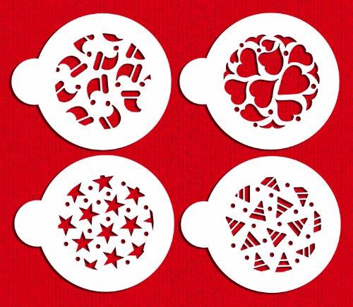 Designer Stencils C368 Holiday Cookies Cake Stencil, (Hearts, Stars, Santa Hat, Candy Corn), Beige/semi-transparent