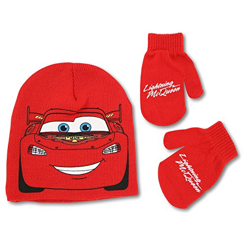 Boys Disney Lightning Mcqueen Cars (Disney Toddler Boys Cars Lightning McQueen Hat and Mitten Cold Weather Set, Age 2-5,Red,One Size)