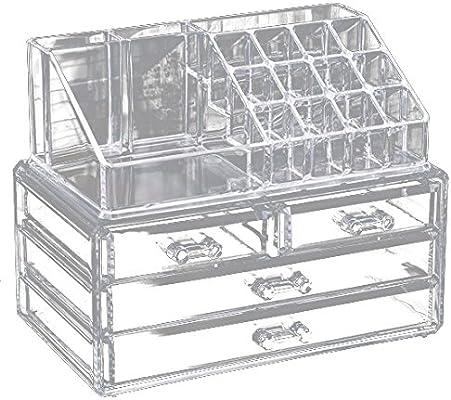 Caja de almacenamiento cosmetica - SODIAL(R)caja de acrilico de almacenamiento de organizador cosmetico con 4 cajones y 16 rejillas caso de maquillaje de ...
