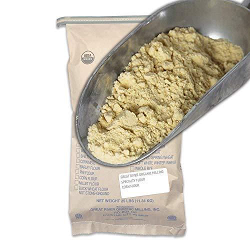 Great River Organic Milling, Specialty Flour, Corn Flour, Stone Ground, Organic, Non-GMO, 25-Pounds (Pack of 1) (Organic Corn Flour)