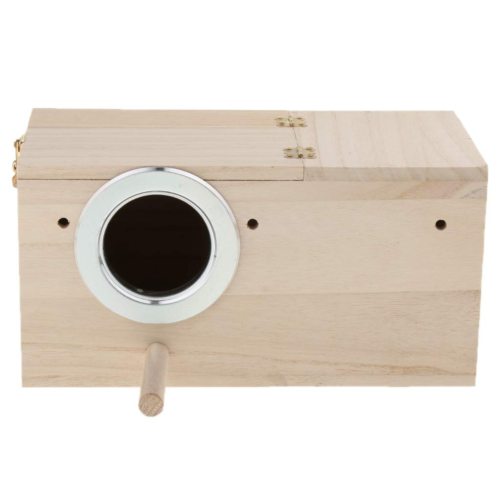 Wooden Box Bird Breeding Cage Aviary Cockatoo Parrot Finch Nest Play Toy - Large Left Open by Flameer