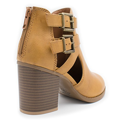 Of Women's Design Side Ankle Out Tan with and Fashion Ts Low Heel Bootie Room Cut 1SwdE1