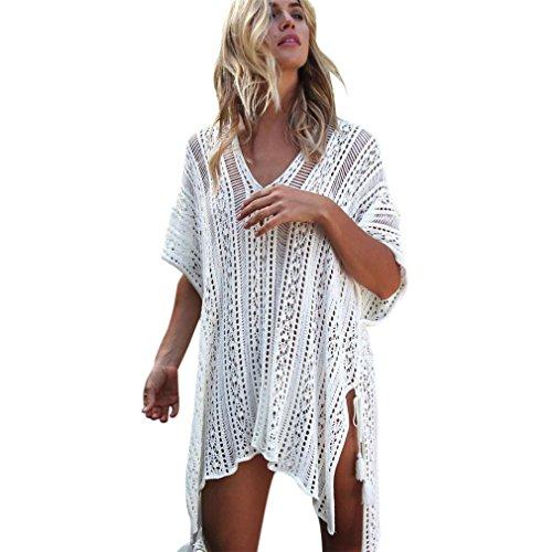 Robe de Plage Dentelle Crochet , GongzhuMM Femmes Cache Maillot de Bain Dentelle Crochet Cover Up Robe Bikini Irrégulier Col V Mode pour Plage