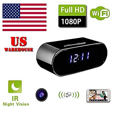 WiFi Hidden Wireless Spy Camera Clock Night Vision Security Nanny Cam HD 1080P by PlatiniumTech