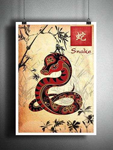 Chinese Astrology Snake - Chinese zodiak snake art print, Sumi E ink asian decor, astrology artwork