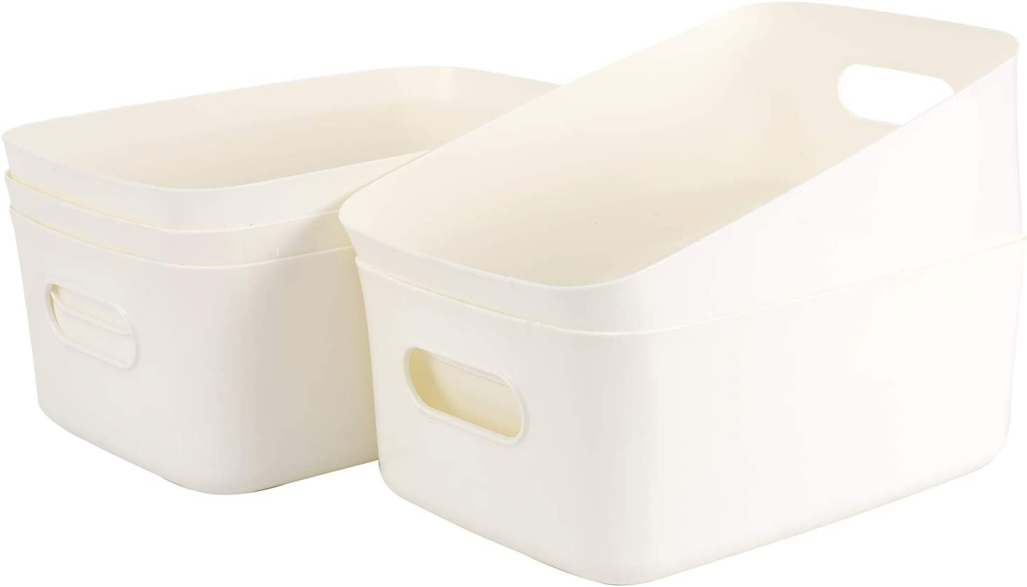 Origa Plastic Storage Baskets, Stackable Plastic Storage Box for Organizing Child's Toys, Desk Cabinet, Office, Bathroom, Bedroom Supplies-12.2inch x 7.87inch x 6.50inch (White,5-Pack)
