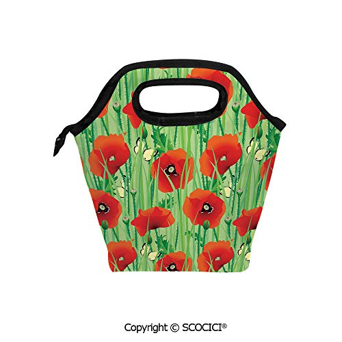 (Reusable Insulated Lunch Bags with Pocket Scarlet Poppy Flowers Field with Butterflies Inspirational Wild Herbs Design for Adults Kids Boys Girls.)