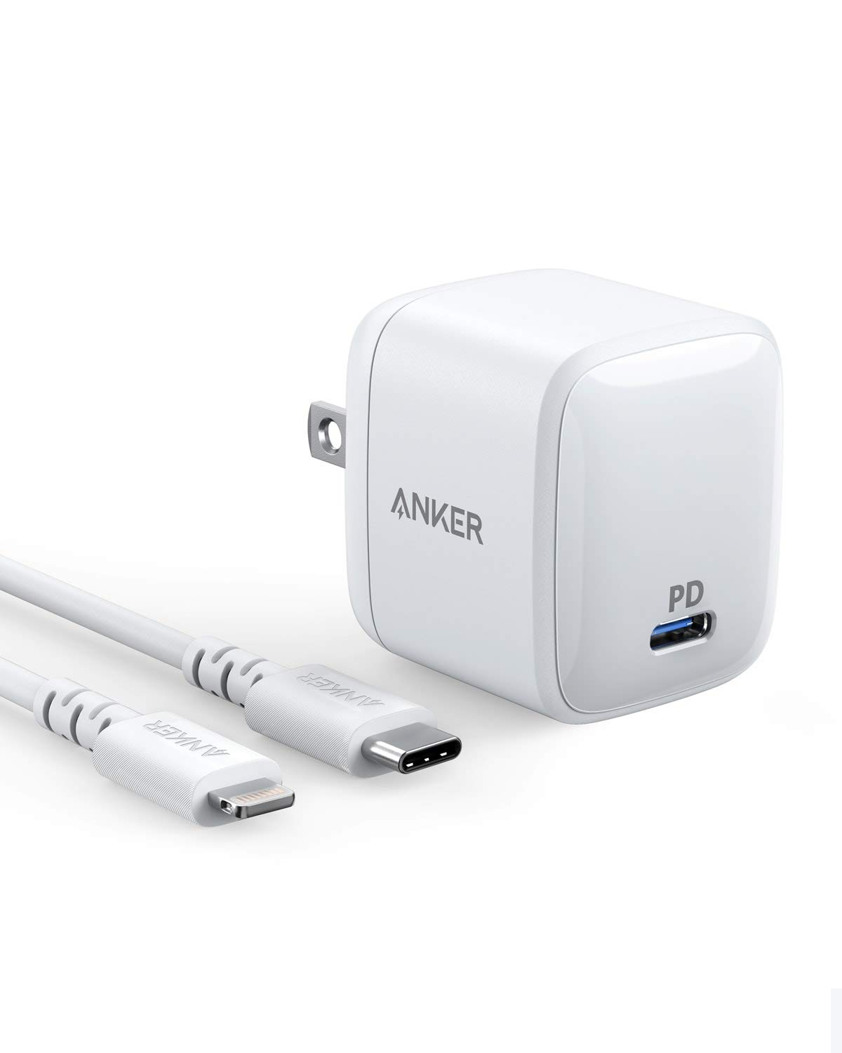 Anker 30W USB C Charger [GaN] PowerPort Atom PD 1 with 3 Foot Powerline Select USB-C to Lightning Cable Combo, Type-C Power Delivery Wall Charger for iPhone XR/XS Max/X/8, iPad Pro, MacBook, and More by Anker