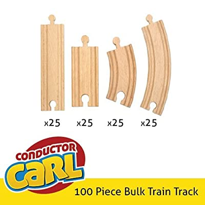 100-piece Bulk Value Wooden Train Track Booster Pack - Compatible with All Major Toy Train Brands by Conductor Carl: Toys & Games