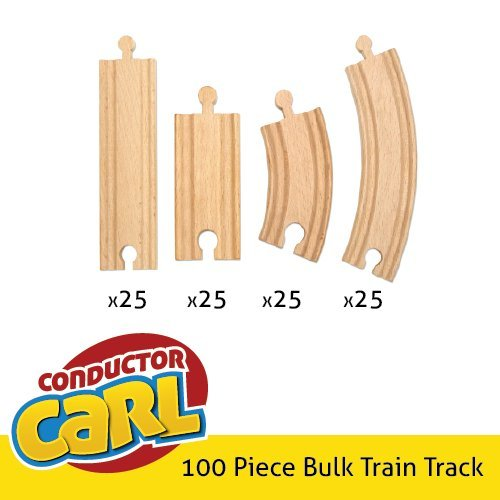 100-piece Bulk Value Wooden Train Track Booster Pack - Compatible with All Major Toy Train Brands by Conductor Carl