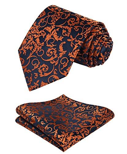 (HISDERN Paisley Tie Handkerchief Woven Classic Men's Necktie & Pocket Square Set (Orange &)