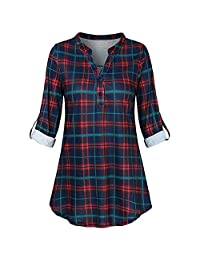 Women Roll Up Sleeve Plaid Henley Shirts Fashion V Neck Button Down Blouse Pullover