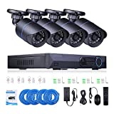 4CH 960P HD Security Camera Recorder CCTV NVR with 1.3MP Video Surveillance System IP66 Weatherproof Outdoor/Indoor IP Monitor POE Night Vision Devices
