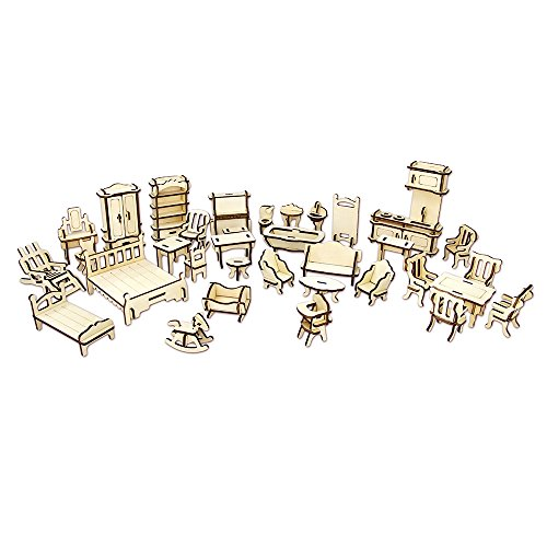 1SET=34PCS Wooden Dollhouse Furnitures 3D Puzzle Scale Miniature Models Doll House DIY Accessories