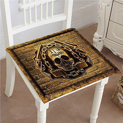 Mikihome Chair Pad Soft Seat Cushion Rustic Skull S Embraced with Chain and Guns on Brick Wall Mythical Portrait Gen Expandable Polyethylene Stuffed Machine Washable (Brick Vinyl Ottoman)